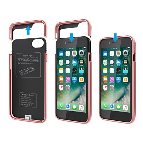 Funda Batería iphone 7, SAVFY 3000mAh Ultra Delgado Cargador Batería Carcasa Protectora para Apple iPhone 7, Negro Rosado-Apple iPhone 7