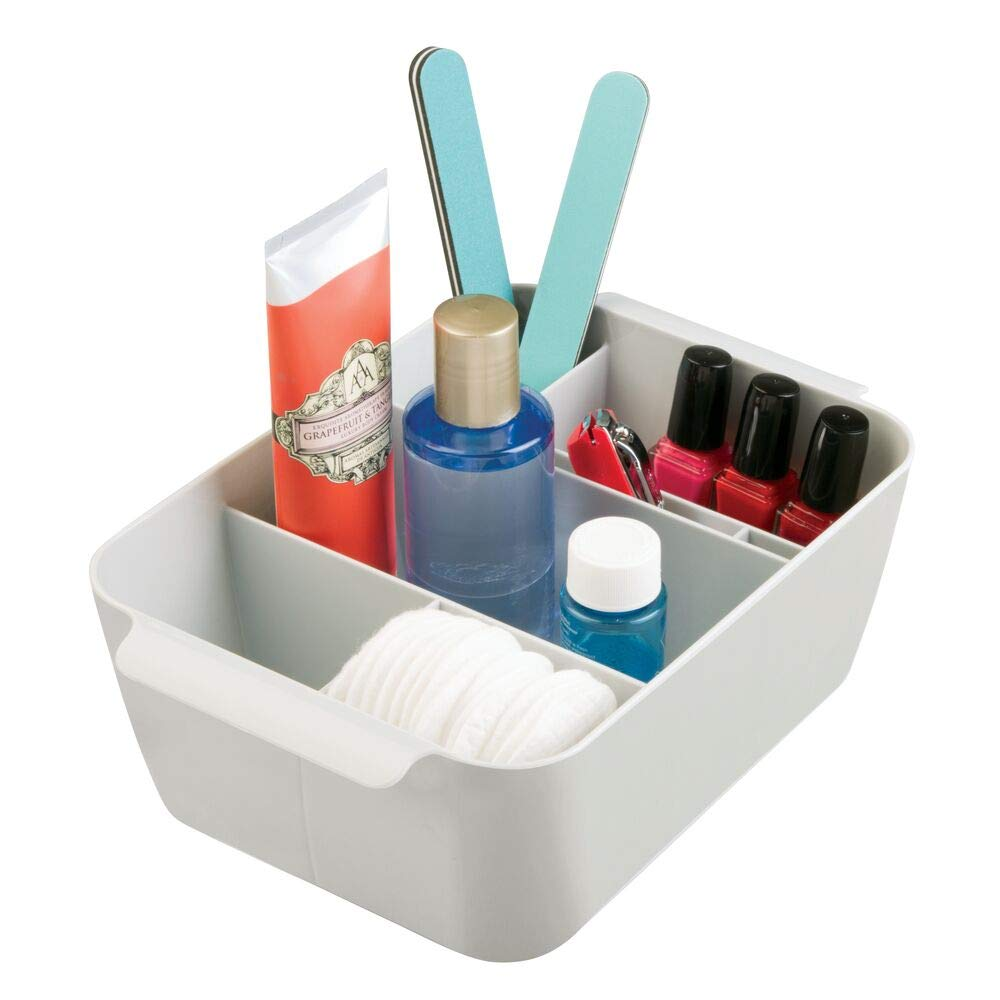 mDesign Plastic Makeup Storage Organizer Caddy - Divided Basket Bin for Bathroom Vanity Countertop, Cabinet - Holds Eyeshadow Palettes, Nail Polish, Brushes, Shower Essentials - Small - Light Gray
