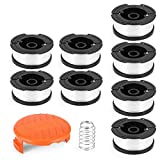 Fstop Labs 10 Pack Replacement Spool Line String for use with Black & Decker AF-100-3ZP Weed Eater Trimmer, Pre-Wound (8 Replacement Spool, 1 Trimmer Cap Cover, 1 Spring)