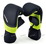 martial arts belt display twelve - MaxxMMA Neoprene Washable Heavy Bag Gloves - Boxing Punching Training (Neon Yellow, L/XL)