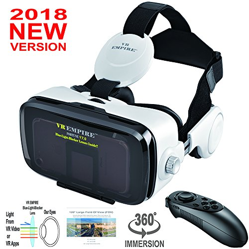 VR Headset Virtual Reality Headset 3D Glasses with 120°FOV, Anti-Blue-Light Lenses, Stereo Headset, for All 4.0-6.2 inch Smartphones such as iPhone & Samsung HTC HP LG etc.