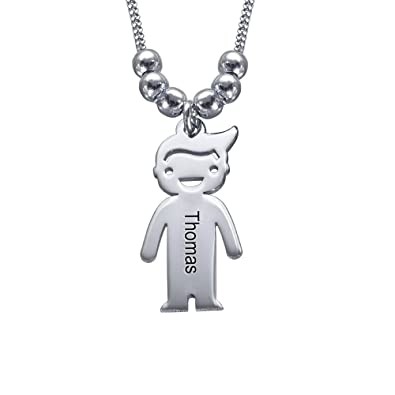 559400c2d8f9a Personalized Children Charms Mothers Necklace-Engraved Boy Girl Charm  Jewelry