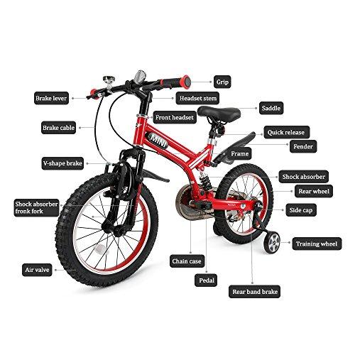 RASTAR Full Suspension Kid's Bike, Mini Cooper Kid's Bicycle 16 inch - Red, Top for Kids 2018 by RASTAR (Image #3)