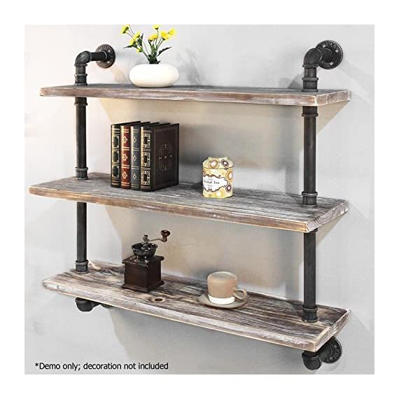 "Diwhy Industrial Pipe Shelving Bookshelf Rustic Modern Wood Ladder Storage Shelf 3 Tiers Retro Wall Mount Pipe Dia 32mm Design DIY Shelving (Black, L 36"") - 【Retro Style】:Rustic industrial pipe shelf in black finish.Iron pipes and reclaimed real wood composition in vintage style.Storage and decorations.It can also be used outdoors.Extensively anti-rust treatment. - Electroplated finish. 【Size】:Made from quality metal pipe and pine wood. Overall size: length 36in x depth 10in x height 39in.Board size: length 36in x depth 10in x thickness 1.18in.Water pipe diameter: 1.26in, Overall Product Weight:33 lb . 【Multi-functional】:The floating shelves are versatile, such as bathroom accessories, towel holder, bookcase, spice racks. - wall-shelves, living-room-furniture, living-room - 51%2BrWGWyR2L. SS570  -"