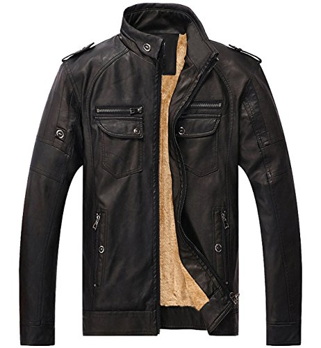Shearling Mens Car Coat - Trensom Men's Vintage Fleece PU Faux Leather Jacket Casual Thick Zip Up Winter Moto Coat Black Medium