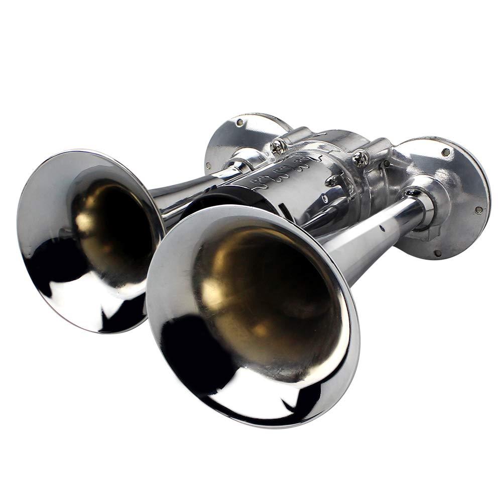 150 dB GAMPRO bocina de aire de 12 V camiones coches nueva bocina de aire con compresor para cualquier veh/ículo de 12 V cromada de zinc furgonetas doble trompeta barcos trenes