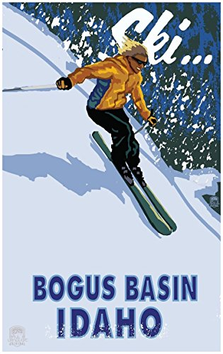 Bogus Basin, Boise Idaho Downhill Modern Girl Skier Travel Art Print Poster by Paul A. Lanquist (24