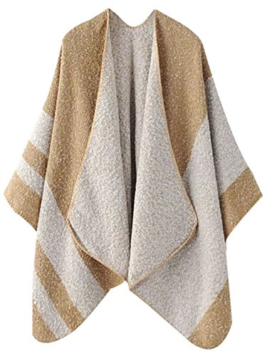 er Knitted Cashmere Poncho Capes Shawl Cardigans Sweater Coat Beige M ()