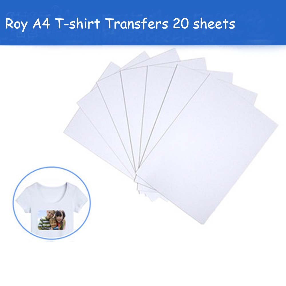 A4 T-Shirt Transfers for Inkjet Printers,Iron Heat Transfer Paper for White or Light-Colored Fabric T-Shirts, 12'' x 8'', 20 Sheets