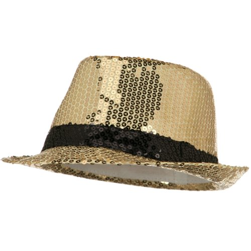 Shiny Sequin Fedora Hat - Gold Black OSFM