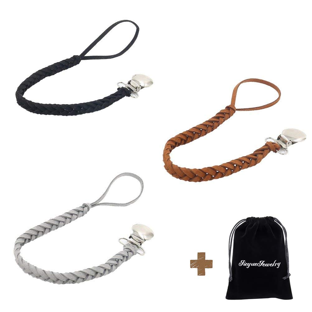 JieyueJewelry Leather Baby Pacifier Clips, Handmade Suede Braided Leash Pacifier Teething Toy Holders for Boys and Girls, 10 inch (Black/Brown/Grey)