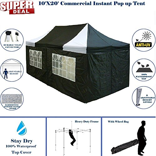 10'x20′ Pop up 6 Walls Canopy Party Tent Gazebo Ez Black/White – F Model Upgraded Frame By DELTA Canopies