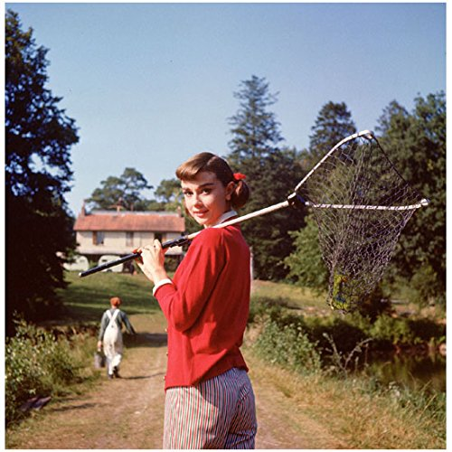 Audrey Hepburn Walking To House Holding Butterfly Catcher 8 X 10 Photo