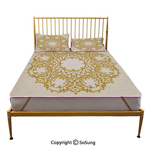 (Victorian Decor Creative Full Size Summer Cool Mat,Traditional Gold Floral Round Circle with Baroque Elements Turkish Ottoman Style Art Sleeping & Play Cool Mat,Cream)