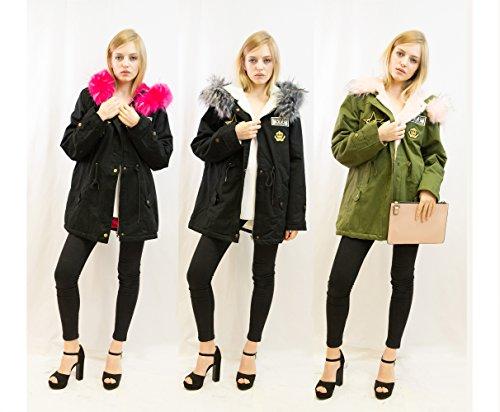Lady acolchado de piel sintética con capucha perchero de pared de acolchado Parka chaqueta de estilo americano negro verde color BLACK+PINK