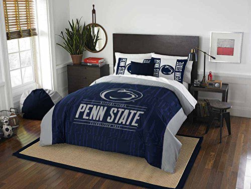 3 Piece NCAA Penn State Nittany Lions Comforter Full/Queen Set, Sports Patterned Bedding, Featuring Team Logo, Fan Merchandise, Team Spirit, College Volley Ball Themed, Blue Multi, For Unisex
