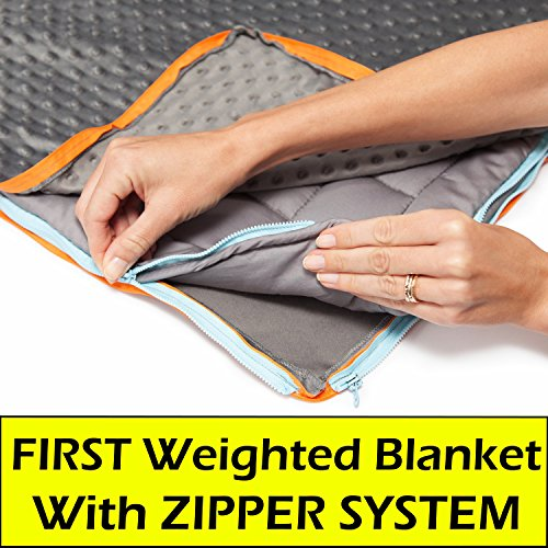 - 15lb Weighted Blanket & 2 FREE COVERS (MINKY & COTTON) For Adults & Kids | Heavy Gravity Blanket Helps ADHD, Autism, Insomnia, Sensory Disorder, Stress | Anxiety Blanket | Heavy Queen Blanket | 60x80