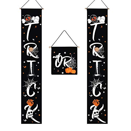 Best Easy Halloween Treats (Halloween Trick or Treat Banner for Door Decoration, Indoor Outdoor Banner Signs Easy to Use Ready to Hang for Gate, Garden, Home)