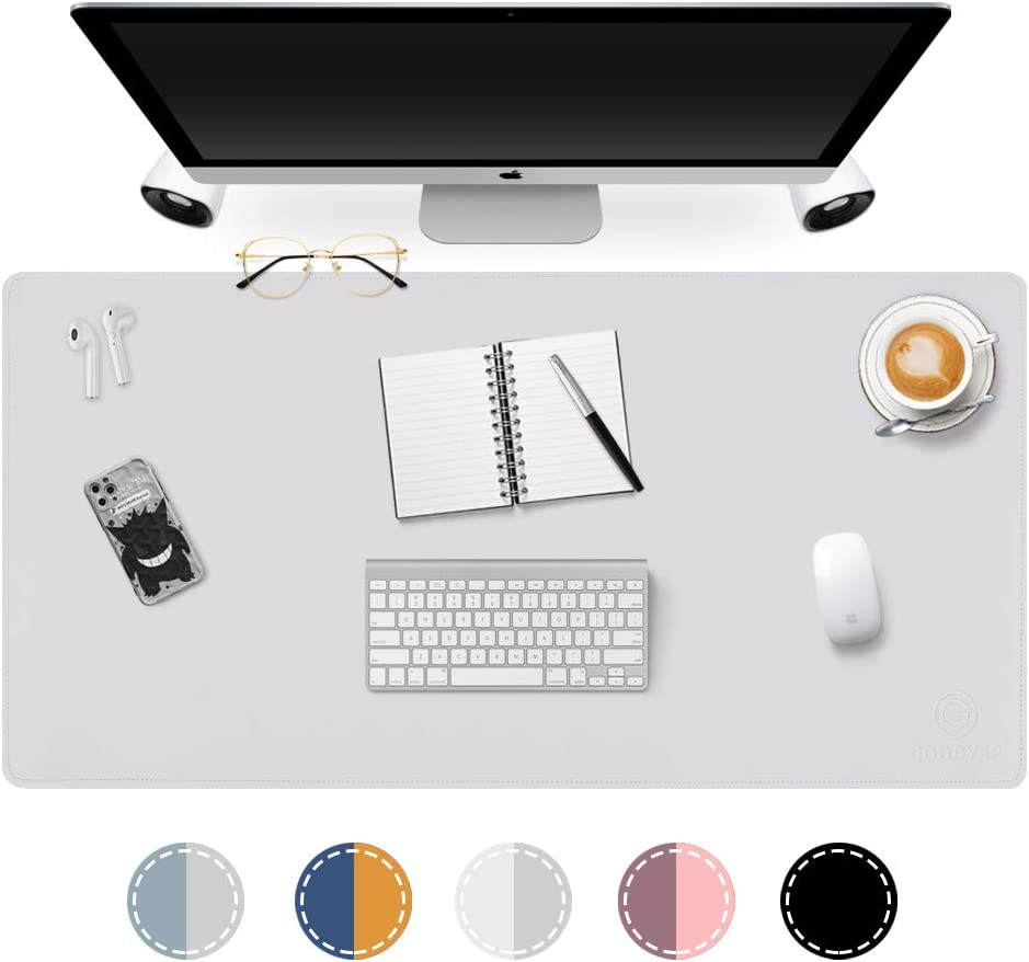 Dual-Sided Desk Pad Office Desk Mat, GOODYEP Ultra Thin Waterproof PU Leather Mouse Pad Desk Blotter Protector, Desk Writing Mat for Office/Home (White/Silver, 31.5