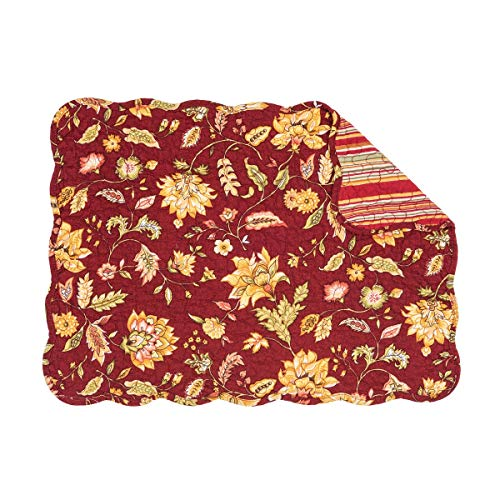 (C&F Home Courtney Red Yellow Floral Flower Bouquet Place Mats Rectangular Cotton Quilted Reversible Washable Placemat Set of 6 Rectangular Placemat Set of 6 Courtney)