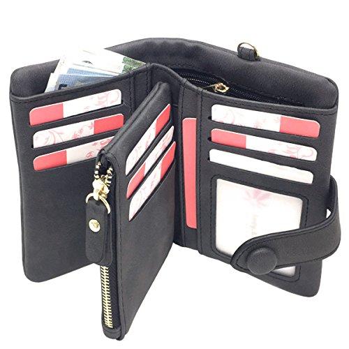Women's RFID Leather Wallet Ladies Wristlet Clutch Large Capacity Zipper Purse