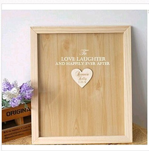 Engraved To Love Laughter and Happily Ever After Wedding Guest Book Alternative Heart Drop Wood Drop Box Rustic Wedding Gifts Brial Shower Gifts