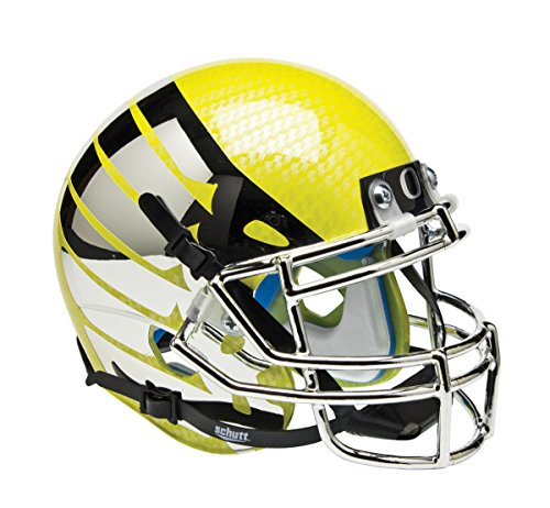 (Schutt NCAA Oregon Ducks Mini Authentic XP Football Helmet, Yellow Wing and Carbon Fiber Alt.)