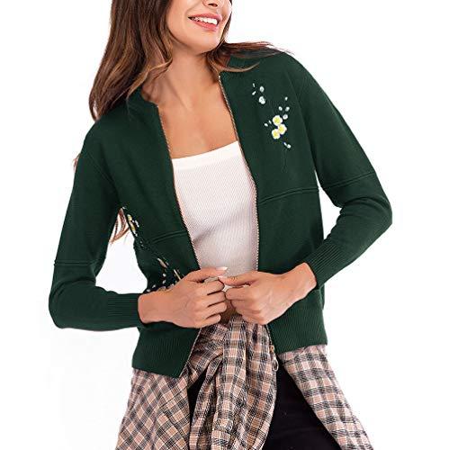 Cardigan Autunno Biran Fiori Tempo Lunga Giacca Verde Donna Primaverile Maglia Ricamate A Outwear Libero Fit Manica Vintage Corto Slim Cappotto Grazioso qaHqfx