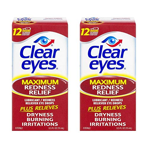 Clear Eyes Maximum Strength Redness Relief, 0.5 Fluid Ounce (2-Pack) (Best Way To Clear Red Eyes)