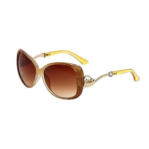 870dd6bba43 HUASHI Women s Big Box Frog Mirror Sunglasses Metal Small Horse Cart  Sunglasses High Temperament Color Beige