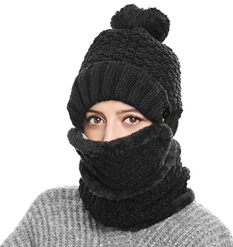 Waffle Weave Crochet (Winter Beanie Hat Scarf and Mask Set 3 Pieces Thick Warm Slouchy Knit Cap, Black, One Size)