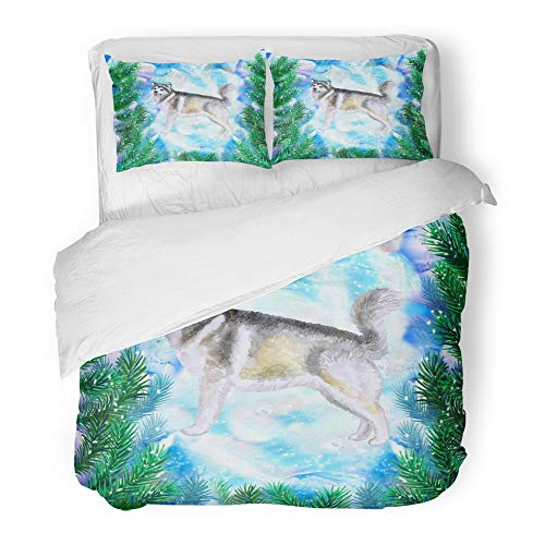 Emvency 3 Piece Duvet Cover Set Brushed Microfiber Fabric Breathable Alaskan Malamute Symbol of New Year and Christmas with Fir Tree Branches Cute Bedding Set with 2 Pillow Covers Twin Size Alaskan Fir Christmas Tree