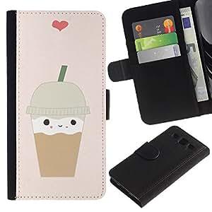 Planetar® Modelo colorido cuero carpeta tirón caso cubierta piel Holster Funda protección Samsung Galaxy S3 III i9300 i747 ( Ice Cream Coffee Heart Brown Cute )