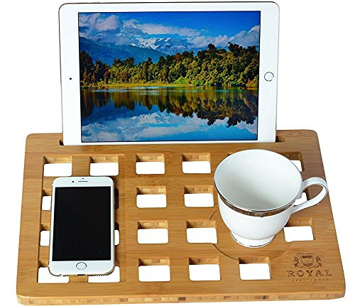 "51%2BrZkJjqML - ROYAL CRAFT WOOD LapDesk Stand, Student Lap Desk Bamboo Slate for 11""-13""-15"" Laptop, with Cooling and Mouse Pad"
