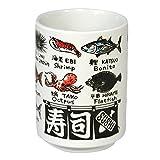 山志製陶所 中切立湯呑 JAPANシリーズ 魚英語 C3-7