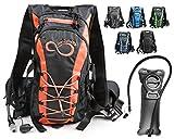 Live Infinitely Hydration Backpack 2.0L TPU Leak Proof Water Bladder- 600D Polyester -Adjustable Padded Shoulder, Chest & Waist Straps- Silicon Bite Tip & Shut Off Valve- (Orange Edge)