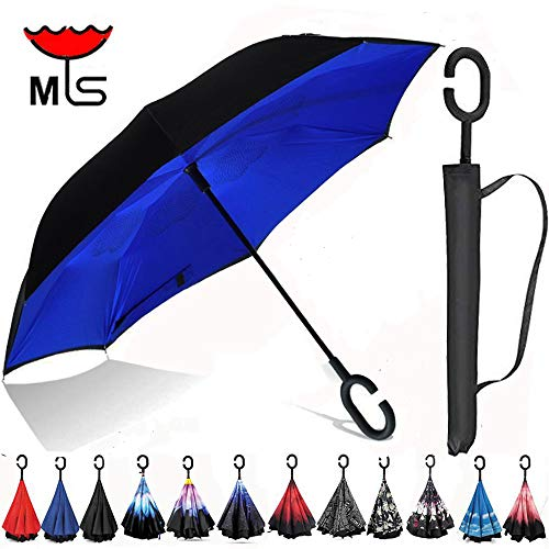 Double Layer Inverted Umbrella Windproof UV Protection Reverse folding Cars Reversible Umbrella by MYS (Royal Blue)
