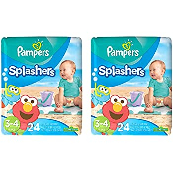 Pampers Splashers Disposable Swim Diapers, Size 3/4, 24 Count, JUMBO (Pack of 2)