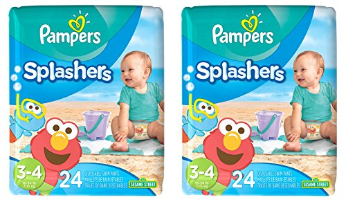 Price comparison product image Pampers Splashers Disposable Swim Diapers,  24 Disposable pants each,  size 3-4,  2 Pack