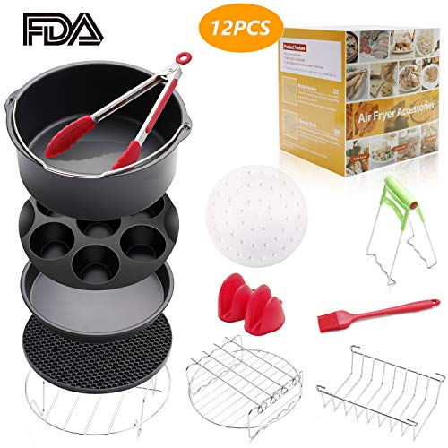 8 inch Air Fryer Accessories 12 Pcs for Gowise Phillips Cozyna Airfryer XL 4.2QT-5.8QT, Deep Fryer Accessories Set of 12