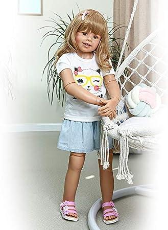 """Standing Girls Lifelike Baby Dolls 39/"""" Blonde Hair Reborn Toddler Dolls Handmade"""