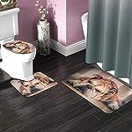 DING English Bulldog Dog Soft Comfort Flannel Bathroom Mats Non-Slip Absorbent Toilet Seat Cover Bath Mat Lid Cover,3pcs/Set Rugs 8