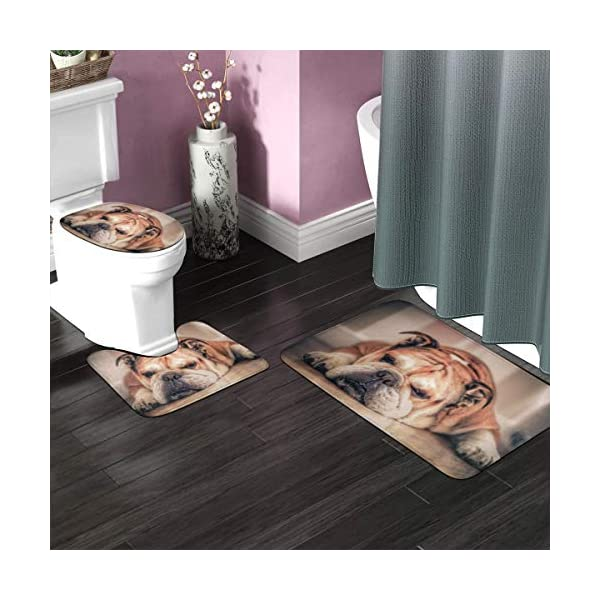 DING English Bulldog Dog Soft Comfort Flannel Bathroom Mats Non-Slip Absorbent Toilet Seat Cover Bath Mat Lid Cover,3pcs/Set Rugs 2