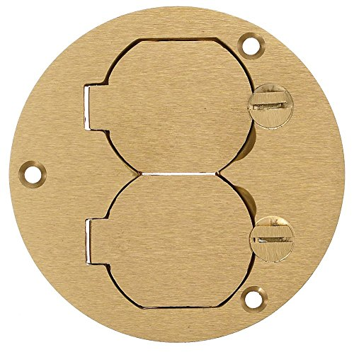 - Hubbell Wiring Systems S3925 Brass Round Floor Box Duplex Flap Single Service Cover, 3.88