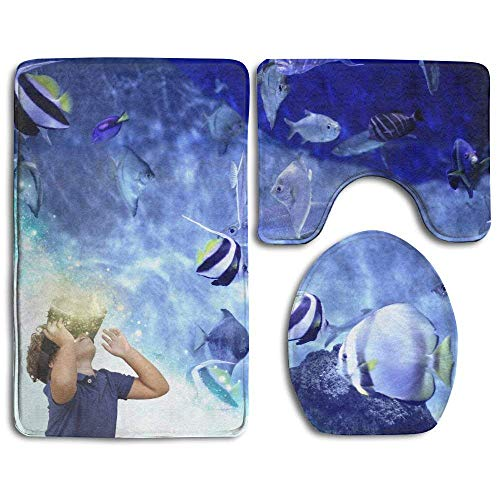 Liliynice - Juego de Alfombrillas de baño para niños con anteojos de Realidad Virtual para Jugar en el Acuario,...