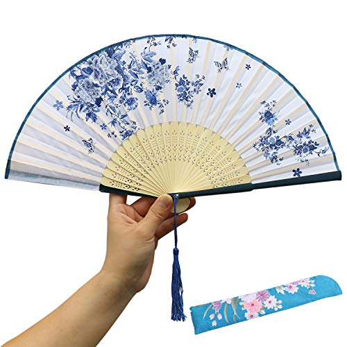 Japanese Wedding Flowers - XGAKWD Handheld Folding Fans Hand Held Fans with Tassel, Chinease/Japanese Silk Bamboo Fan Hand Holding Fans for Women (Blue)