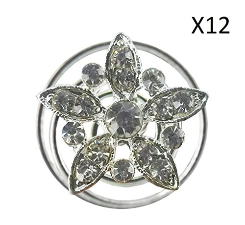 Twinkle Crystal Twist Hair Clip - Mini Lily Flower with Crystals, Set of 12, Swirl Hair Twists Coils