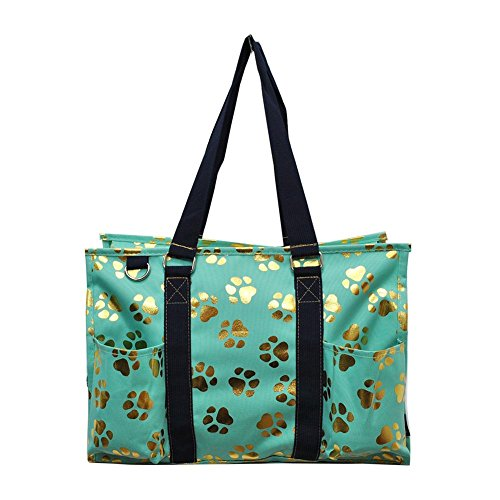 All Purpose Utility Bag - NGIL All Purpose Organizer Medium Utility Tote Bag 2018 Spring Collection (Gold Puppy Paw Mint)