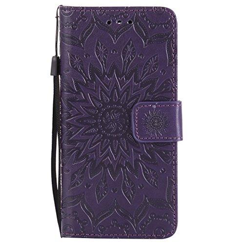 Funda para LG K8 (2017), MAGQI Suave PU Cuero Cartera Cubierta Repujado Mandala Girasol Stand Función Flip Libro Estilo Protección Shell con Imán Cierre Ranuras de Tarjeta-Marrón Púrpura