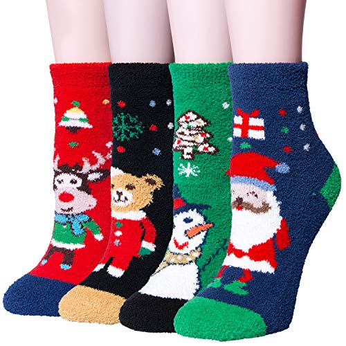 331f95af80f 4 Pairs Women s Winter Cozy Fuzzy Christmas Socks
